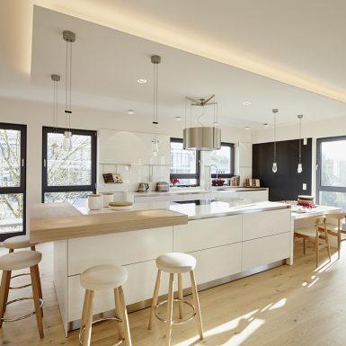 innenarchitekt, küche, kücheninsel, badplanung, offener wohnraum, wohnküche, offenes wohnen, penthouse, loft, design
