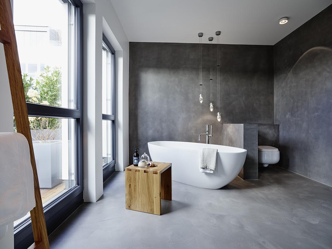 badplanung, bad, wanne, waschtisch, private-spa, freistehende wanne, doppelwaschtisch, holz, beton wand, fugenlos, Boden, Wände