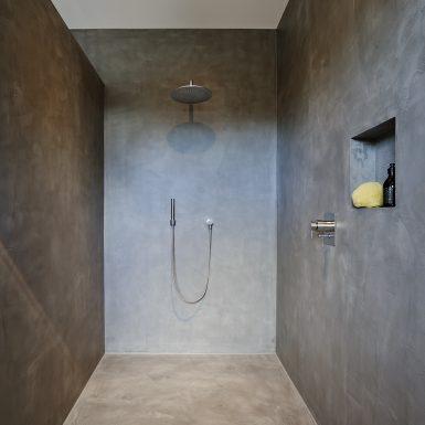 badplanung, bad, dusche, waschtisch, private-spa, holz, beton wand, fugenlos, Boden, Wände