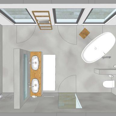 visualisierung, bad, wanne, waschtisch, private-spa, freistehende wanne, doppelwaschtisch, holz, beton wand, fugenlos, Boden, Wände