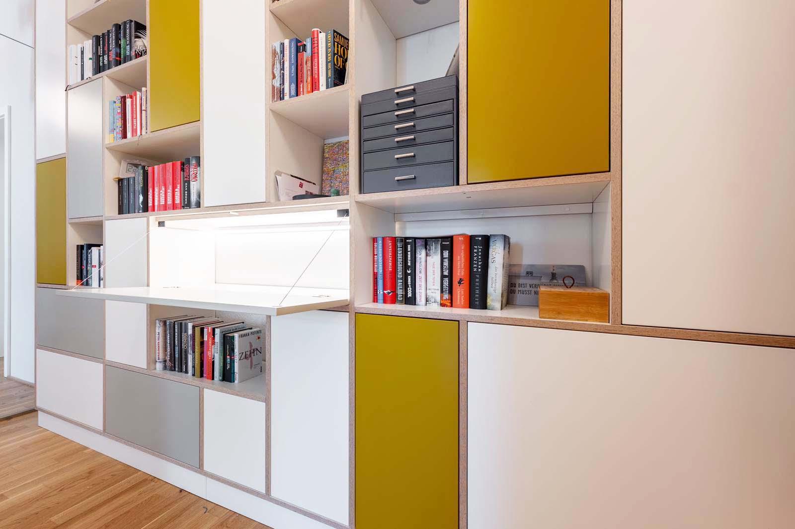 homeoffice, farbe, licht, regal, flur, möbel, bibliothek, garderobe, bücher, leiter, design, schreiner, metallleiter,